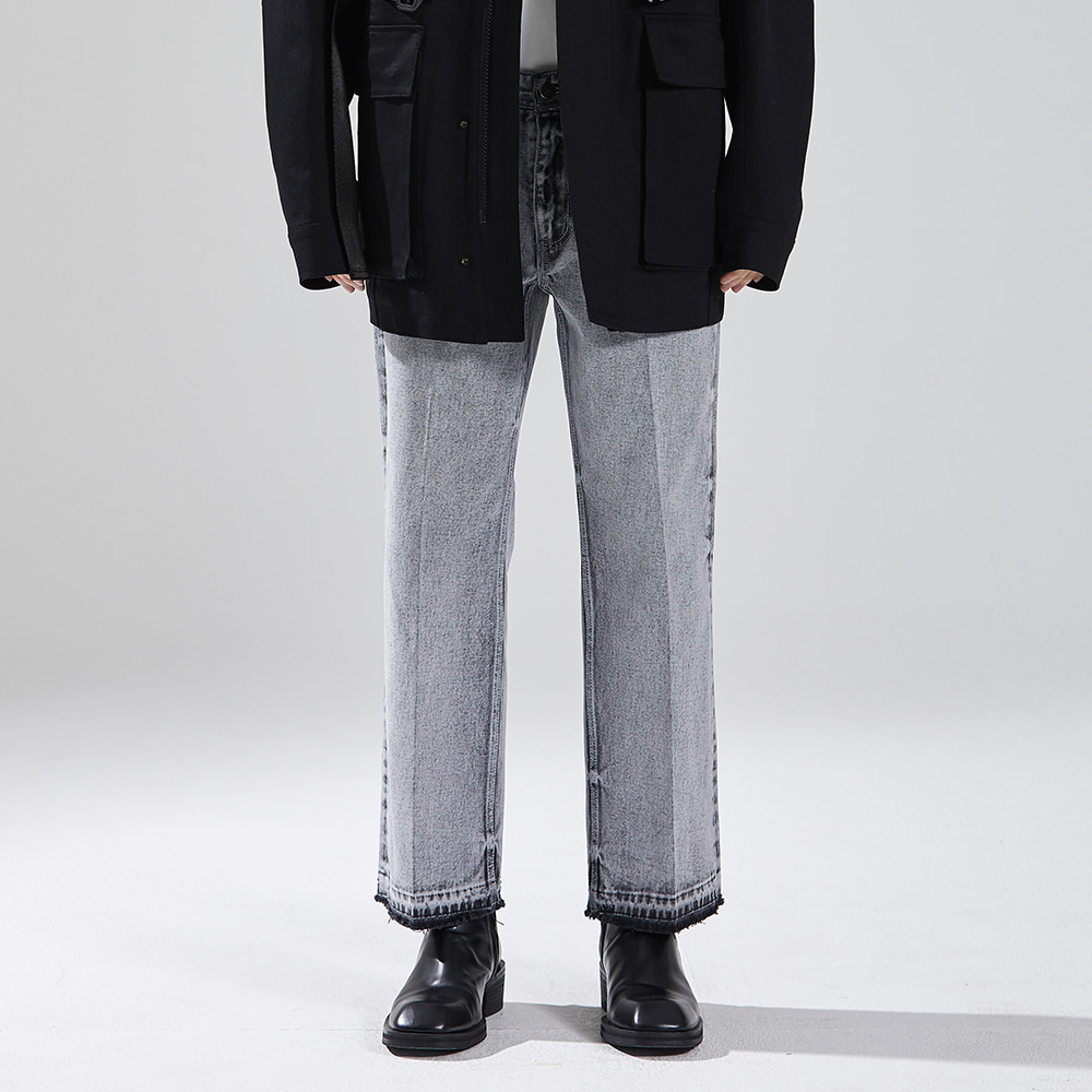 CROPPED STRAIGHT DENIM TROUSERS WHITE메종미네드 MAISON MINED 메종미네드