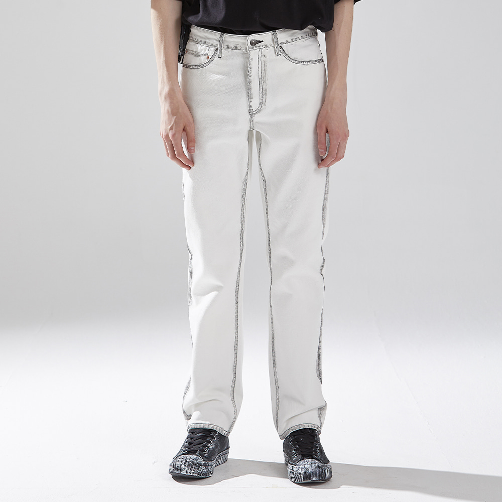 WHITE BRUSHED DENIM TROUSERS메종미네드 MAISON MINED 메종미네드