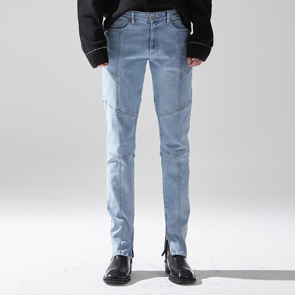 BIKER DENIM TROUSERS LIGHT BLUE메종미네드 MAISON MINED 메종미네드