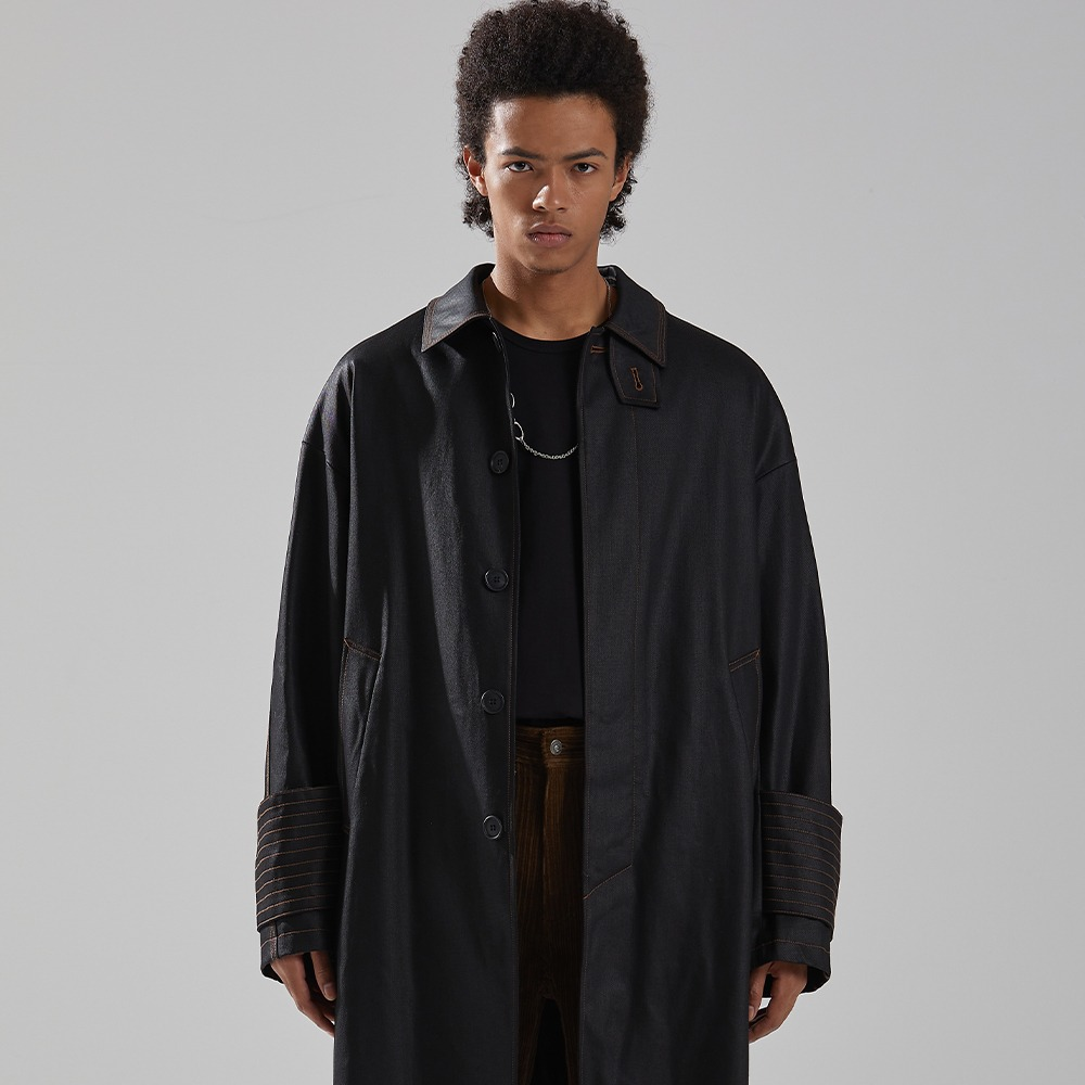 BLACK COATING OVERSIZED MAC COAT메종미네드 MAISON MINED 메종미네드