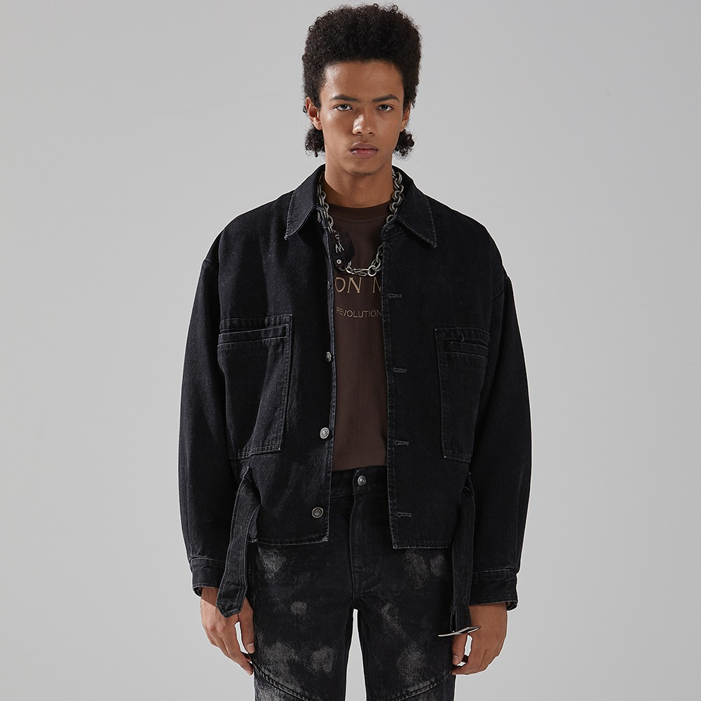 BLACK WASHED DENIM TRUCKER메종미네드 MAISON MINED 메종미네드