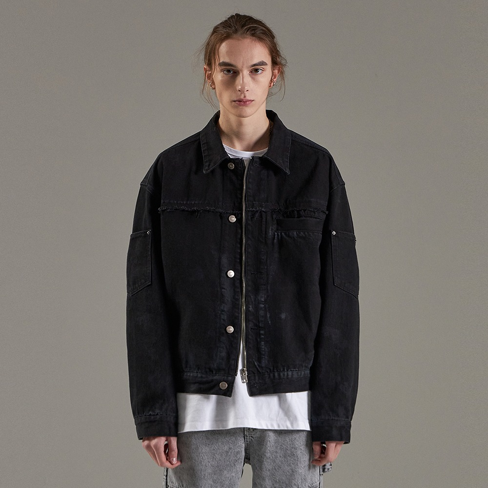BALIN ZIPPER DENIM JACKET BLACK메종미네드 MAISON MINED 메종미네드