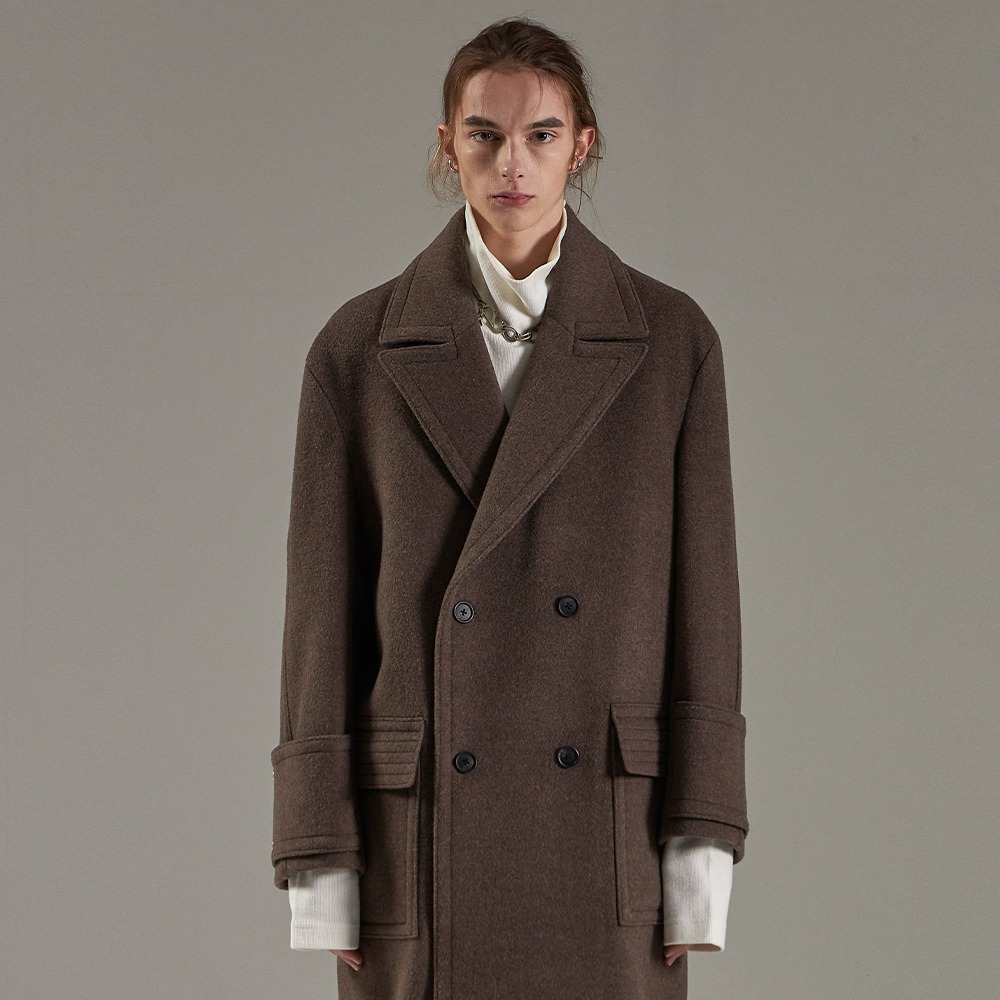 MELANGE BROWN OVERSIZED DOUBLE COAT메종미네드 MAISON MINED 메종미네드