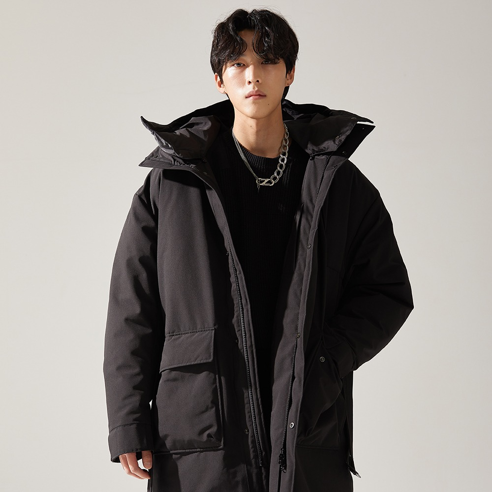BLACK DOUBLE LONG GOOSE DOWN메종미네드 MAISON MINED 메종미네드