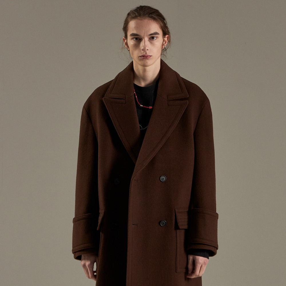 BROWN OVERSIZED DOUBLE COAT메종미네드 MAISON MINED 메종미네드