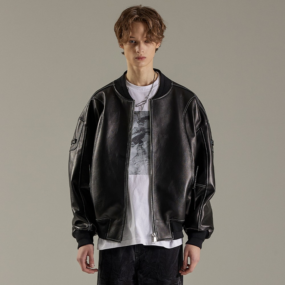 BLACK LEATHER LAMB OVER MA-1메종미네드 MAISON MINED 메종미네드