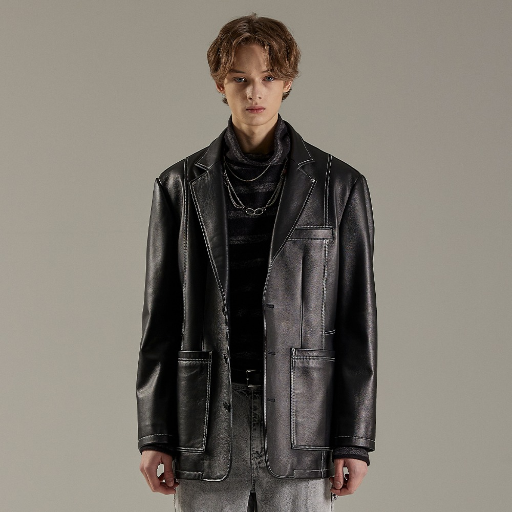 BLACK LEATHER LAMB DADDY JACKET메종미네드 MAISON MINED 메종미네드