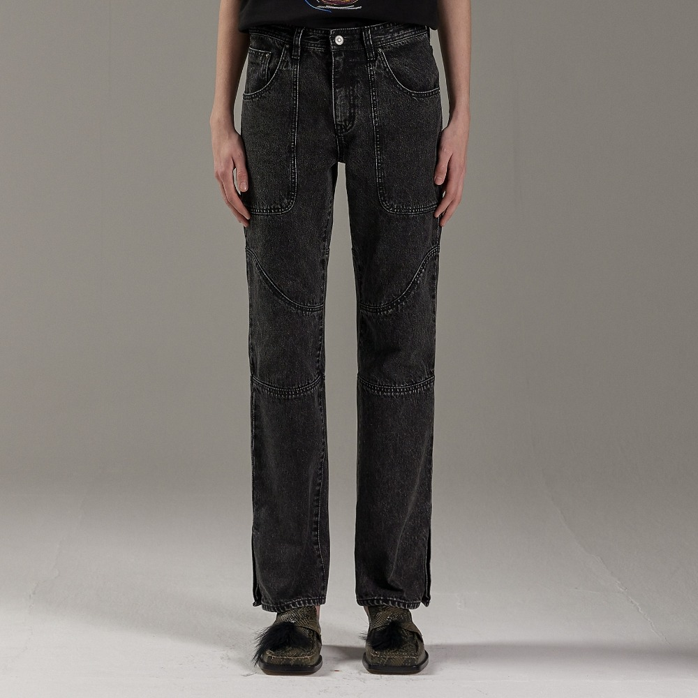 LAPIZ BLACK CURVE DENIM PANTS메종미네드 MAISON MINED 메종미네드
