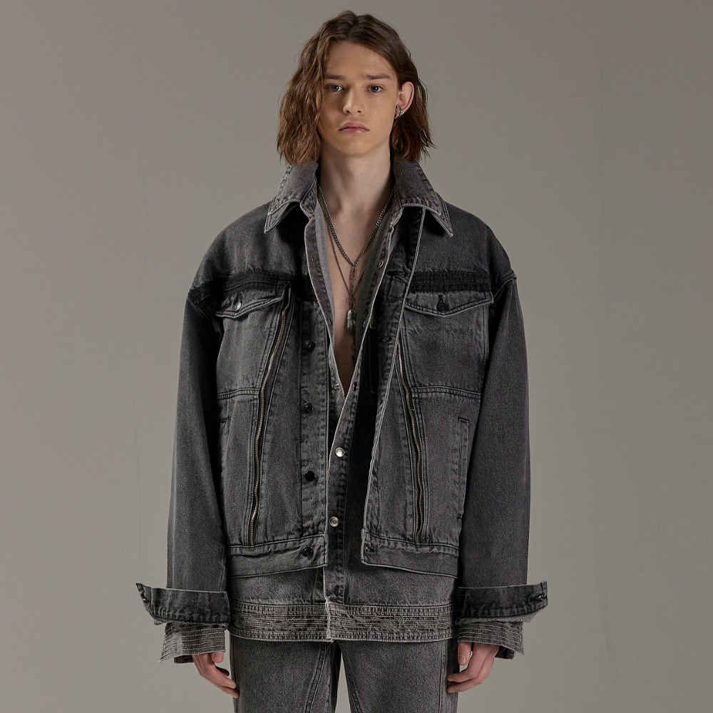 ROSSE DENIM JACKET GREY (3-PIECE)메종미네드 MAISON MINED 메종미네드
