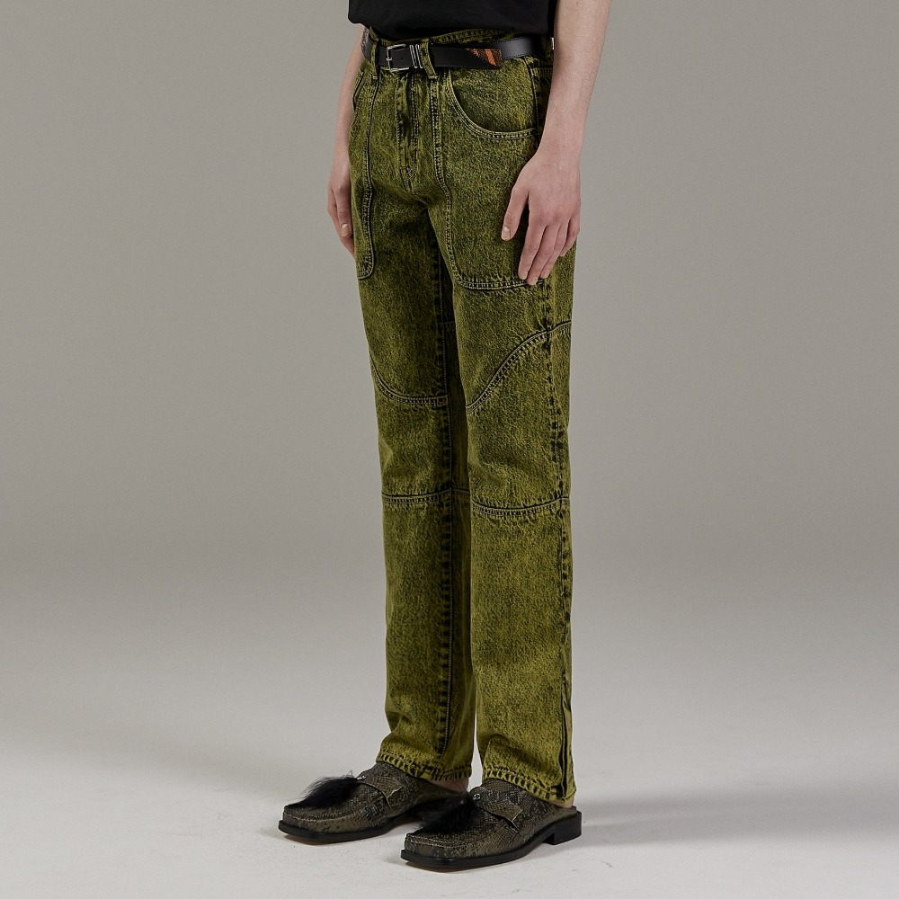 MOSS GREEN CURVE DENIM PANTS메종미네드 MAISON MINED 메종미네드