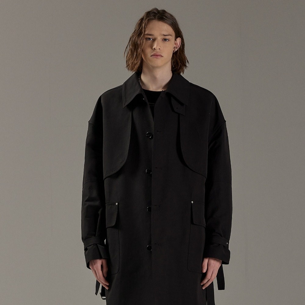 REVERT FLAP OVERSIZED TRENCH COAT BLACK메종미네드 MAISON MINED 메종미네드