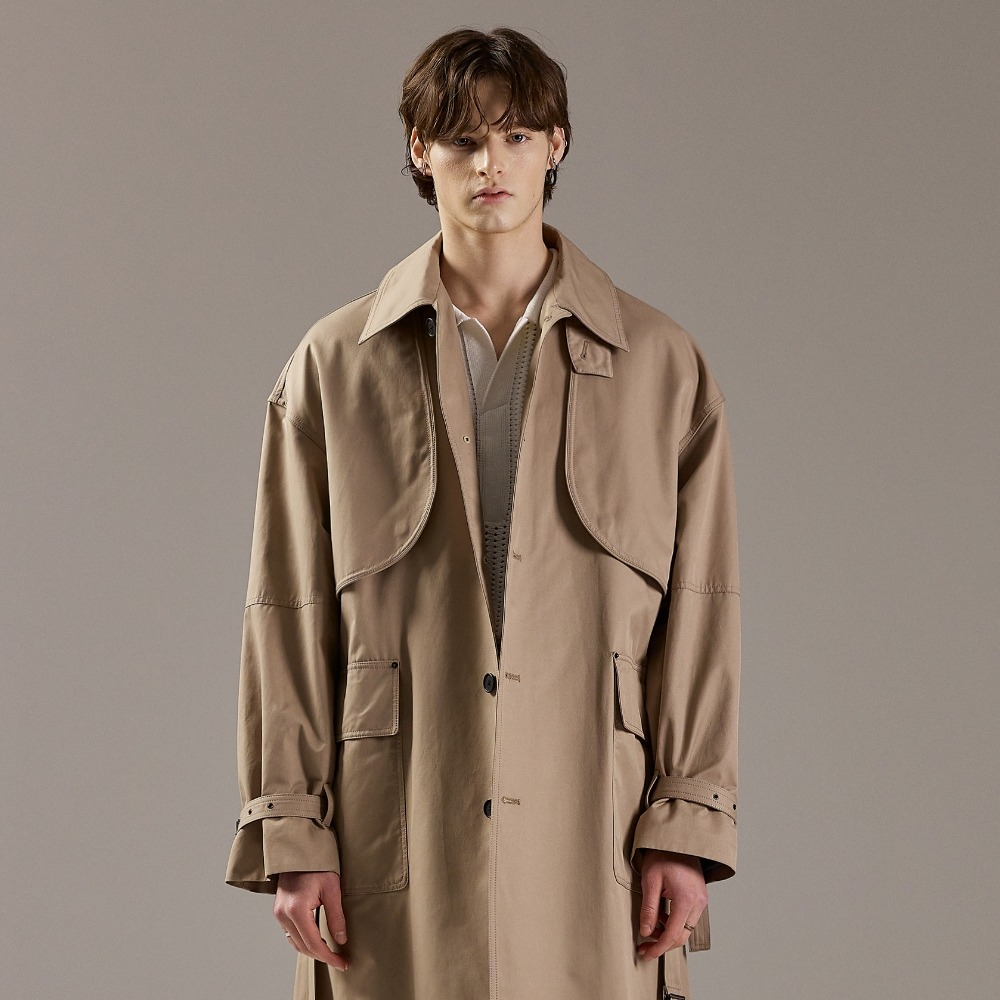 REVERT FLAP OVERSIZED TRENCH COAT BEIGE메종미네드 MAISON MINED 메종미네드