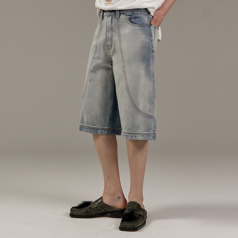 BERMUDA DENIM HALF PANTS L/BLUE메종미네드 MAISON MINED 메종미네드
