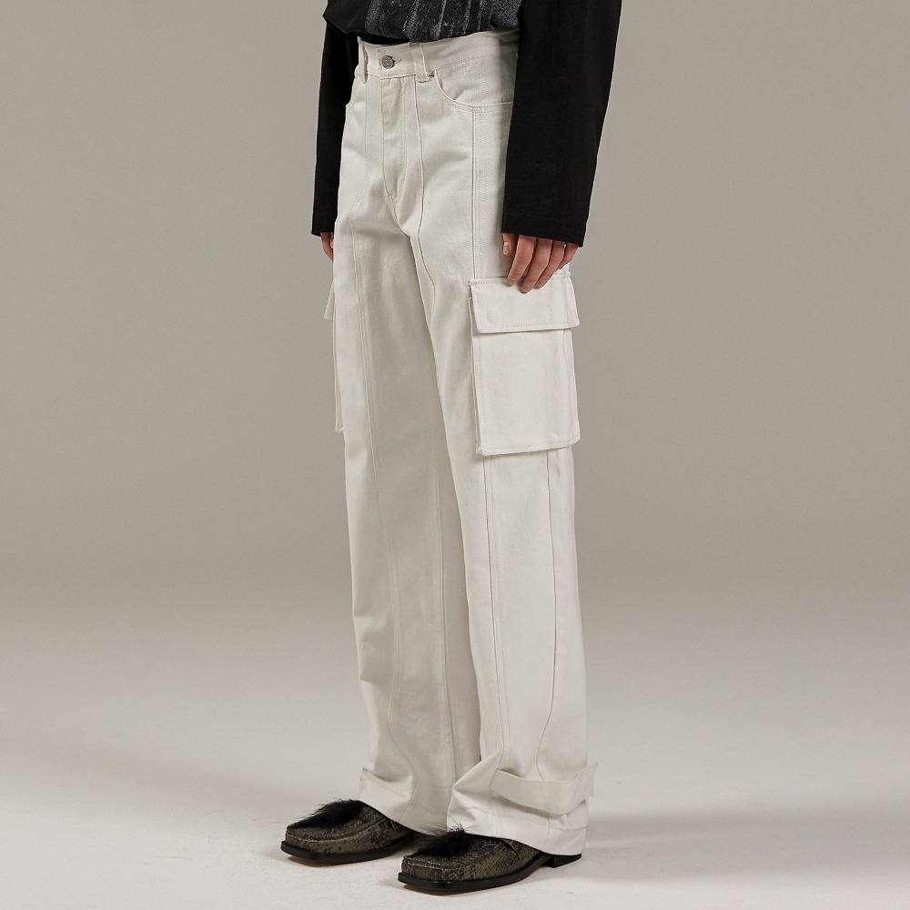 HEM BUTTON UTILITY CARGO PANTS WHITE메종미네드 MAISON MINED 메종미네드