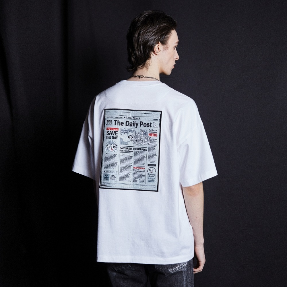 (DALMATIANS)NEWSPAPER PATCH HALF T WHITE메종미네드 MAISON MINED 메종미네드