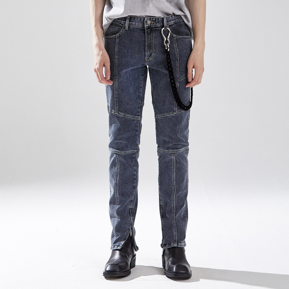 NEW BIKER DENIM TROUSERS BLUE메종미네드 MAISON MINED 메종미네드